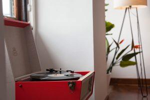 Vinyl turntable in hotel room