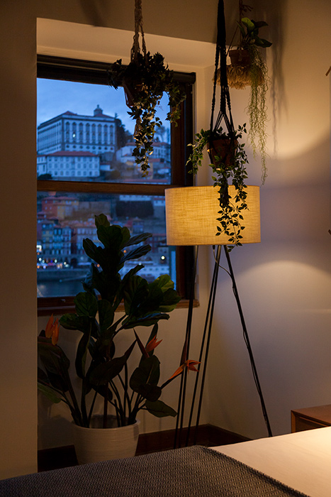 Hotel room decoration and view of Porto