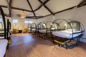 Extra large beds in hostel dorm room